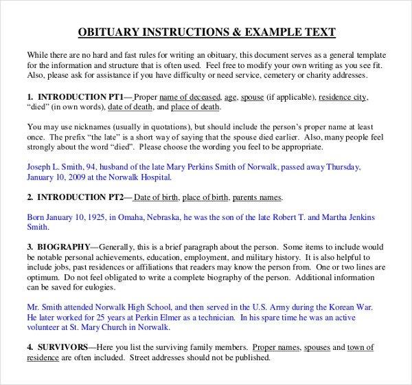 Writing An Obituary Template 11 Obituary Writing Template – Free Sample Example