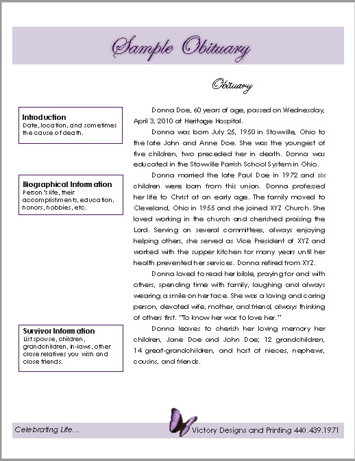 Writing An Obituary Template 21 Free Obituary Templates Samples and Guides