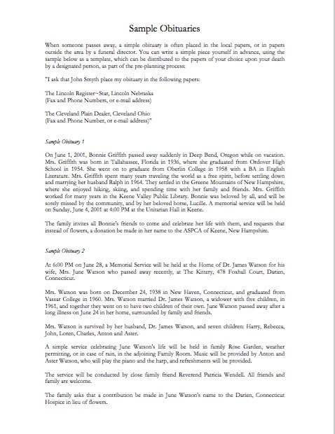Writing An Obituary Template 25 Obituary Templates and Samples Template Lab