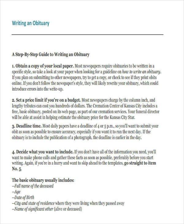 Writing An Obituary Template 34 Sample Obituary