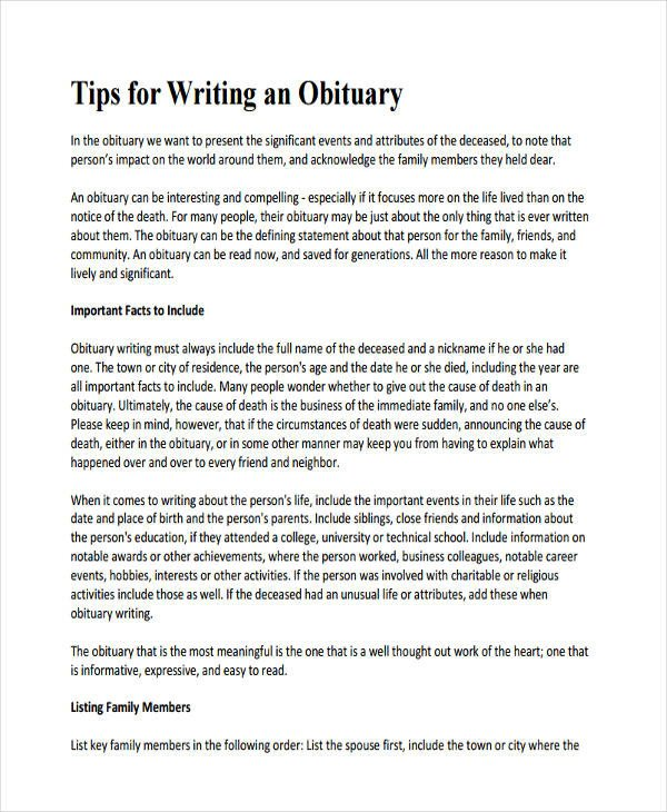 Writing An Obituary Template 5 Obituary Writing Examples Samples