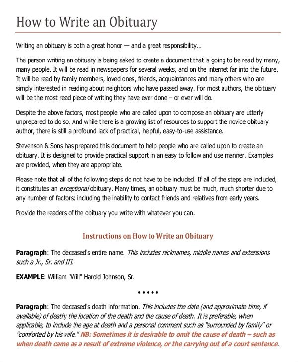 Writing An Obituary Template 9 Obituary Examples Download In Word Pdf Psd