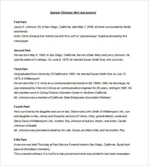 Writing An Obituary Template How to Write An Obituary Samples