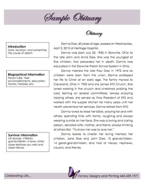 Writing An Obituary Template Obituary Template Word Excel Pdf formats