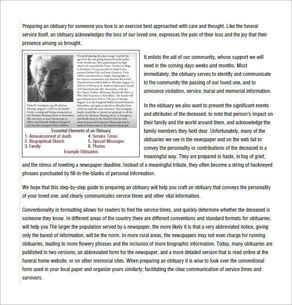 Writing An Obituary Template Obituary Writing Template 11 Free Word Excel Pdf